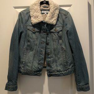 Loft size small shearling lined denim jacket